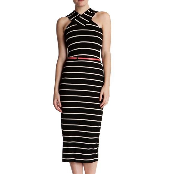 e58d7edd8fbe6a TED BAKER Canna Striped Belted Midi Dress Black   .  M 5b3cdeff04e33d6f9814d5e6